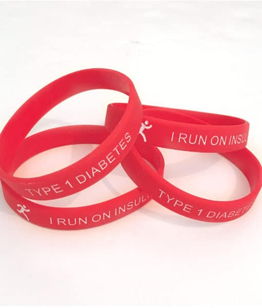 I Run on Insulin Type 1 Diabetes Adult Band Red