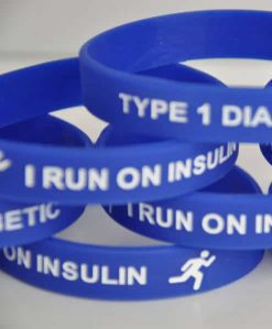 I Run on Insulin Type 1 Diabetes Wristband – Adults Blue