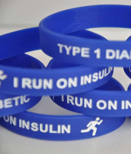 I Run on Insulin Type 1 Diabetes Wristband – Adults Blue