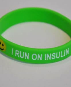 I run on insulin Type 1 Diabetic Wristband green