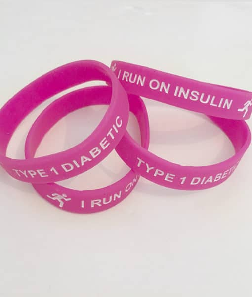 I Run on Insulin Type 1 Diabetes Adult Band Pink