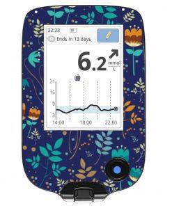Freestyle Libre Handheld Sticker Cobalt Floral