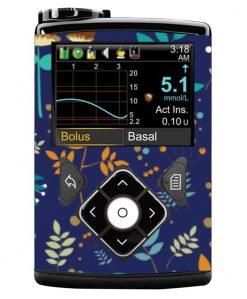 Medtronic 640G Sticker Colbalt Floral