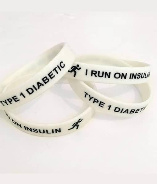 I Run on Insulin Type 1 Diabetes Adult Band White